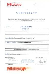 Certifikát souřadnicový měřící stroj CrystaPlus Lanškroun Šplíchal s.r.o.