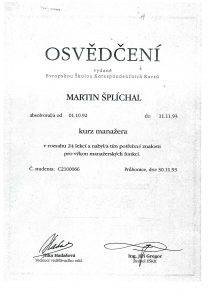 Osvědčení manažera Lanškroun Šplíchal s.r.o.