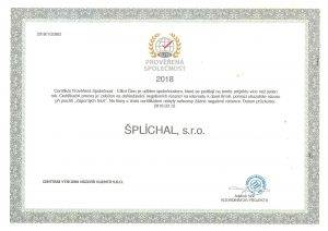 Certifikát prověřená společnost Lanškroun Šplíchal s.r.o.