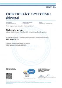 certifikat ISO CNC broušení Lanškroun Šplíchal s.r.o.